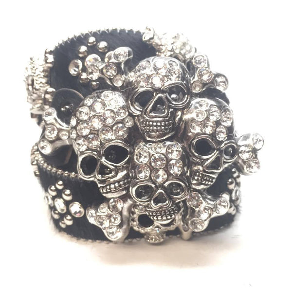 "B.B. Simon ""Graveyard Pony Hair"" Swarovski Crystal Belt"