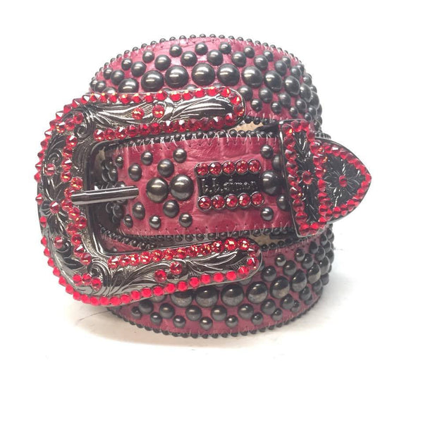 "B.B. Simon ""Red Wine Studded"" Swarovski Crystal Belt"