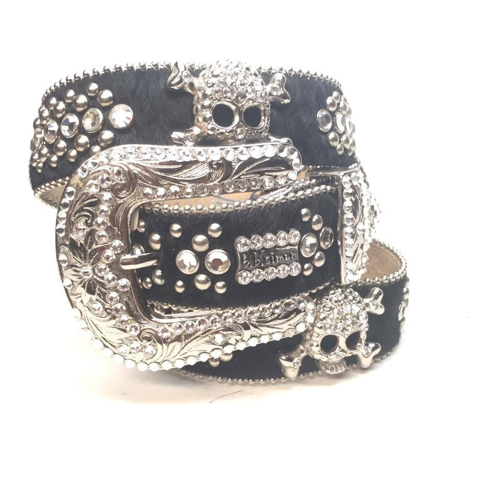 "B.B. Simon ""Skull Pony Hair"" Crystal Belt - Dudes Boutique"