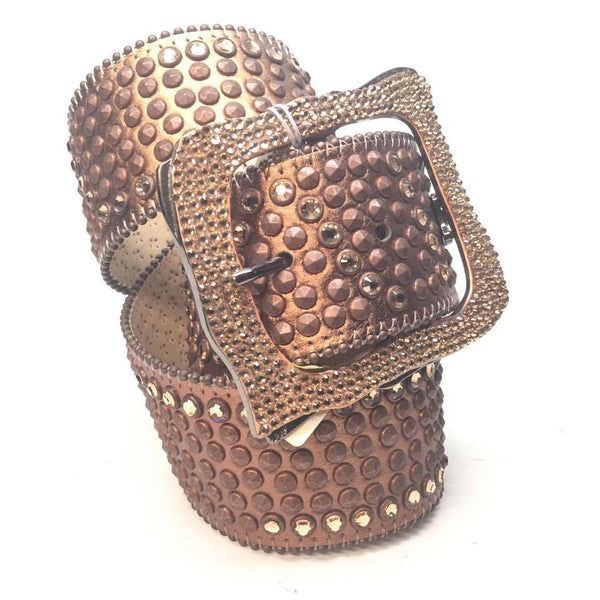 "B.B. Simon ""Thick Quad Studded Bronzlli"" Swarovski Crystal Belt"