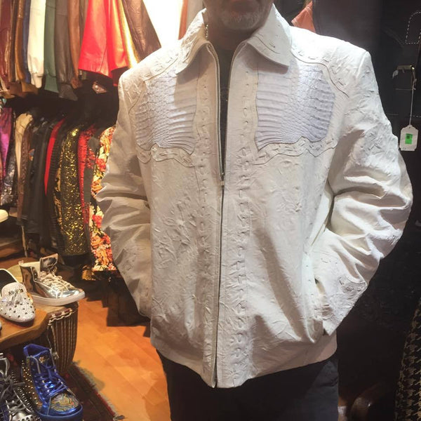 Safari Men's Laced Alligator/Washed Lambskin Bomber Jacket