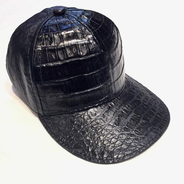 Jet Black Alligator body/Ostrich skin Strap-back Hat