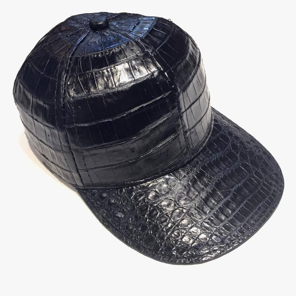 Black All Over Alligator body Strap-back Hat - Dudes Boutique
