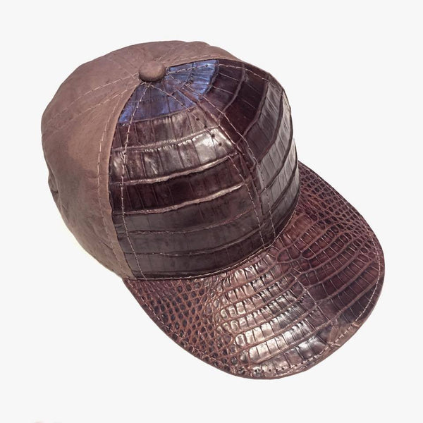 Chocolate Brown Alligator body/Ostrich skin Strap-back Hat