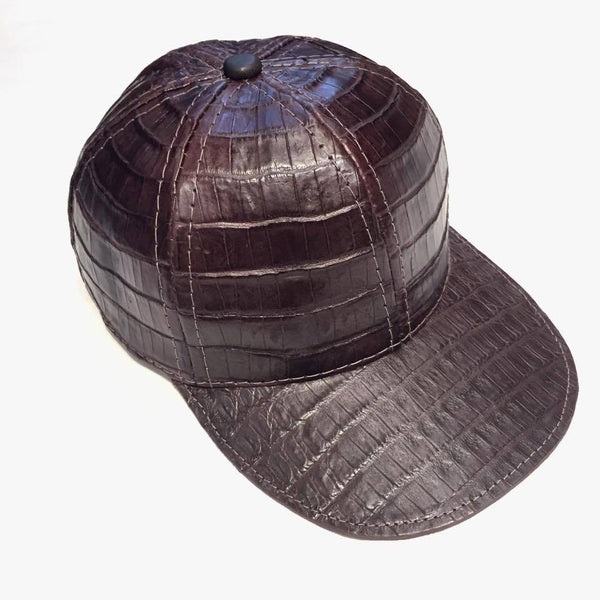 Chocolate Brown All Over Alligator body Strap-back Hat
