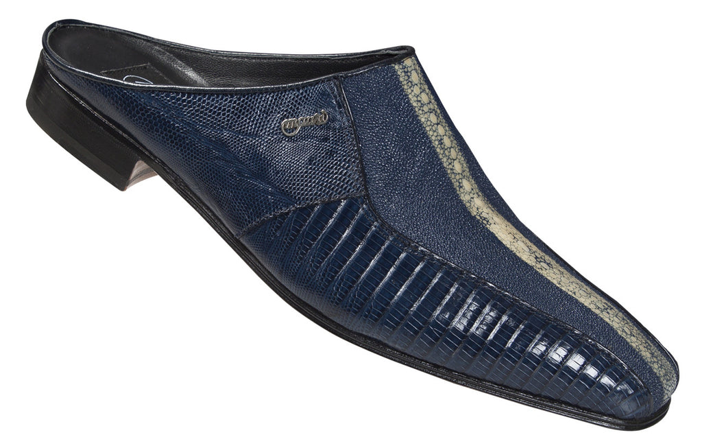 "Mauri - ""2096/4"" Blue Stingray Highway/Iris Blue Lizard Half Shoe - Dudes Boutique"