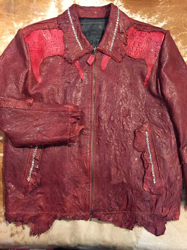 G-Gator Cranberry Crystal Alligator/Lamb Jacket - Dudes Boutique - 1