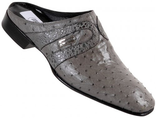 "Mauri - ""2112"" Medium Grey Ostrich/Serpentine/Frog Half Shoe - Dudes Boutique"