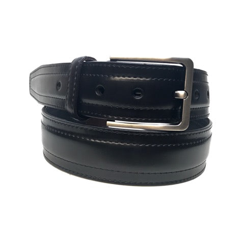 GK Men`s Black Double Stitch Dress Belt