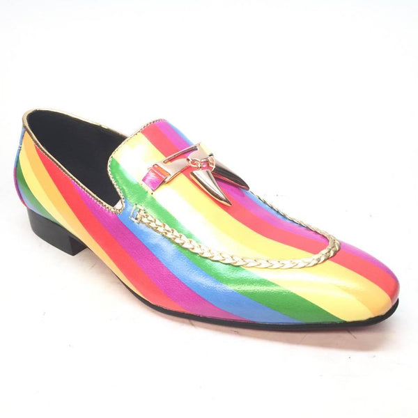 Fiesso Rainbow 'Pride' Gold Shark Tooth Red Bottom Loafers - Dudes Boutique