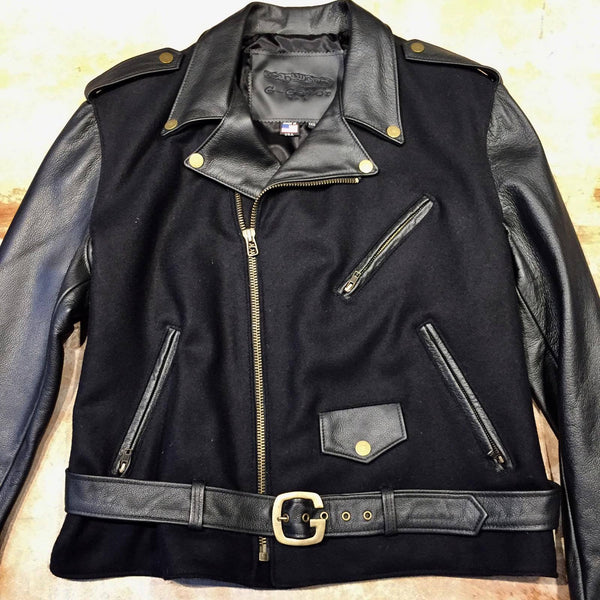 Classic Lambskin Leather/Wool Biker Jacket - Dudes Boutique