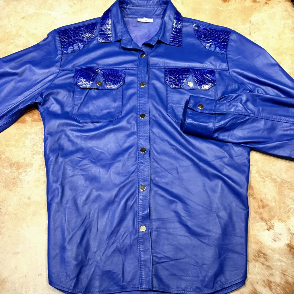 G-Gator Royal Blue Alligator/Lambskin Button-Up Shirt - Dudes Boutique
