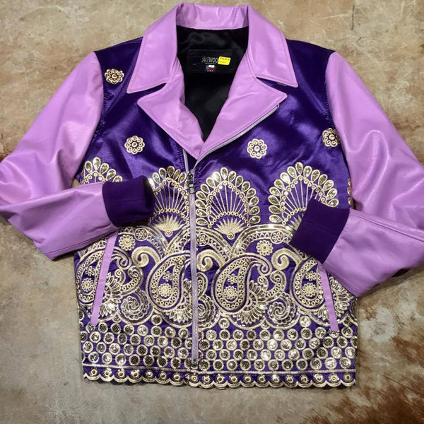 Royal Sequin Taj Mahal Lambskin Biker Jacket