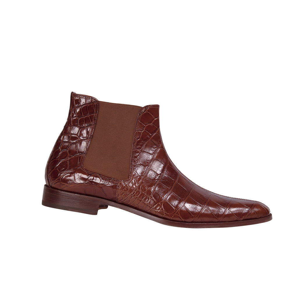 "Mauri - 2198 ""Reserved"" Cognac Alligator Chelsea Boot - Dudes Boutique"