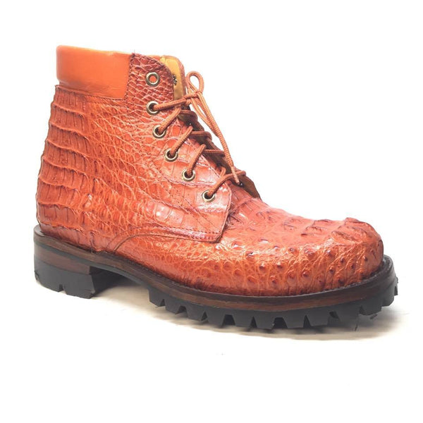 Safari Cognac Exotic Men's All-Over Hornback Combat Boots