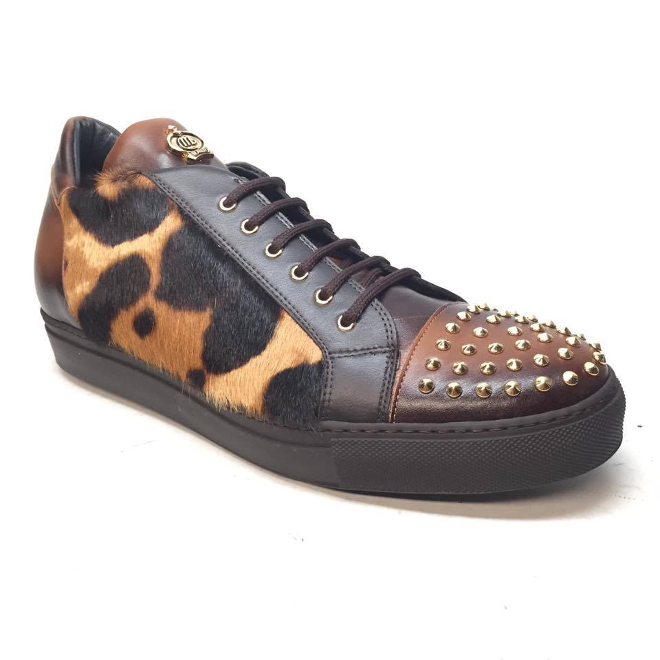 Mauri 6124/1 Pony/Lambskin Studded Sneakers