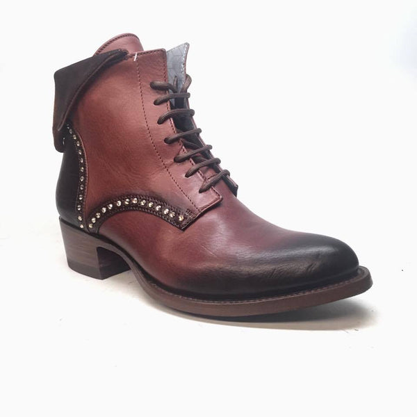 Denver Mountain Co. 'Lady Quincy' Crystal Leather Ankle Boots - Dudes Boutique