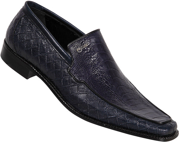 "Mauri - ""2430"" Wonder Blue Karung Plisse Ostrich/Calf Loafer - Dudes Boutique"