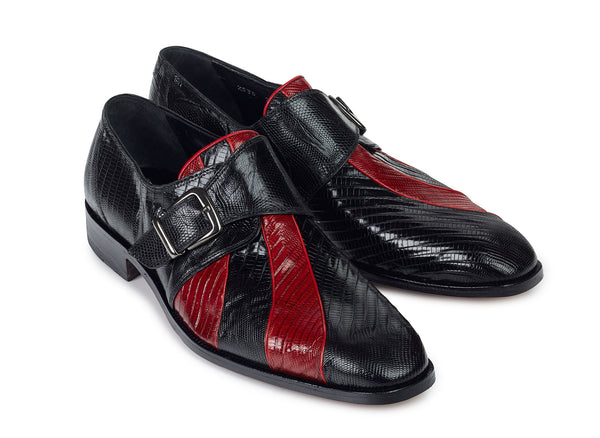 "Mauri - ""2536"" Black/Red Tejus Lizard Dress Shoe - Dudes Boutique"