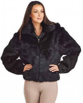 Winter Fur Women's Black Bomber Rabbit Fur Coat