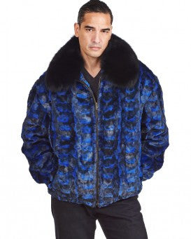 Winter Fur Men's Diamond Cut Mink Bomber Fur Coat