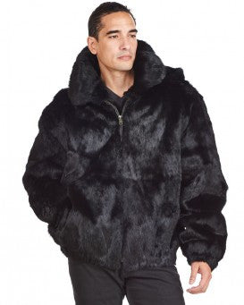 Winter Fur Men's Black Bomber Rabbit Fur Coat