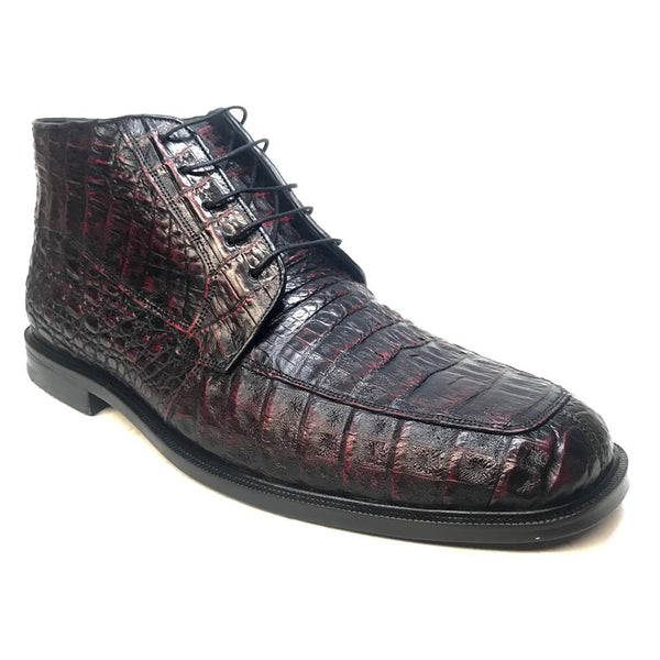 Los Altos Black Cherry Lace-Up Crocodile Dress Boots