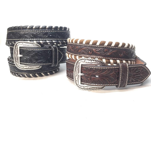 Striped Western Weaved Leather Belt