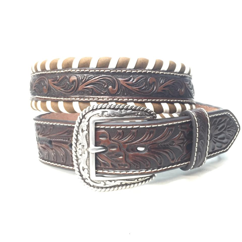 Striped Western Weaved Leather Belt - Dudes Boutique