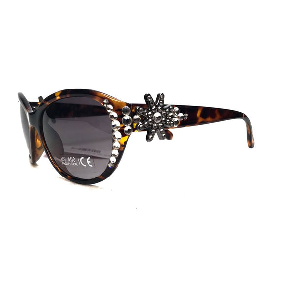 Nocona 3002 Brown Floral  Tortoiseshell Crystal Large Sunglasses
