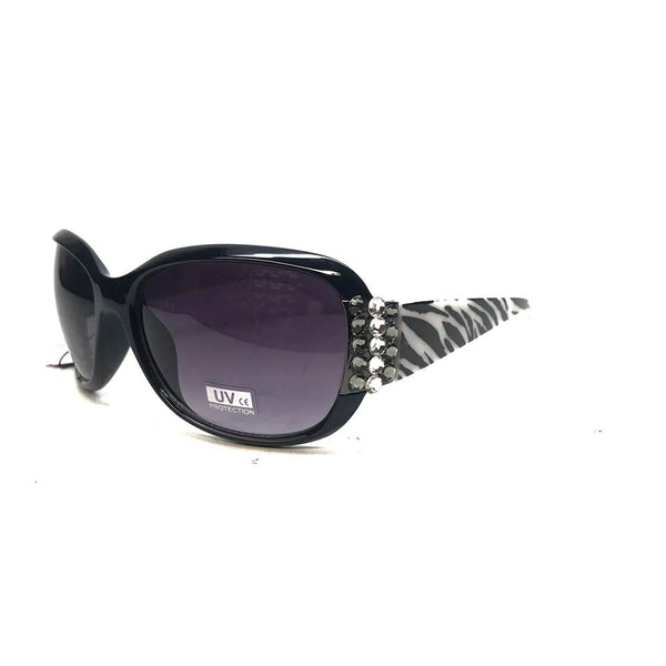 Nocona 0462 Black/White Zebra Crystal Large Sunglasses
