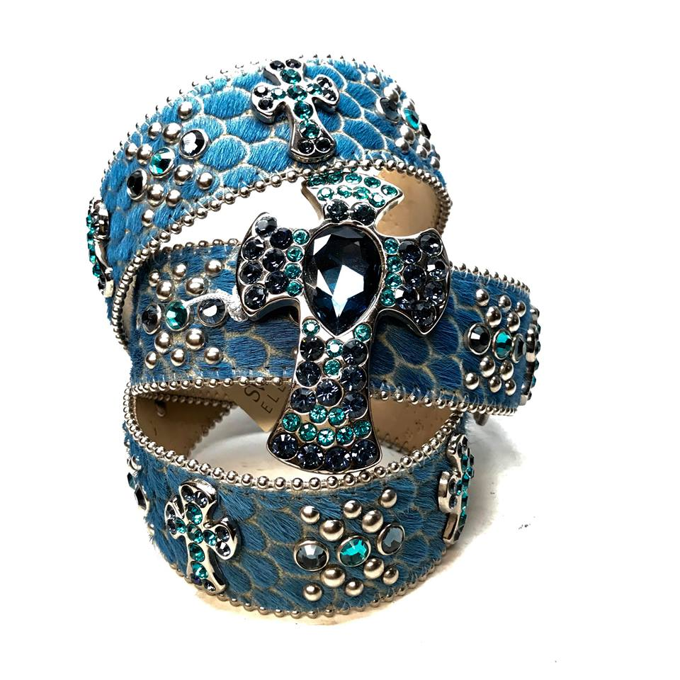 B.B. Simon Blue Egypt Pony Hair Cross Swarovski Crystal Belt - Dudes Boutique