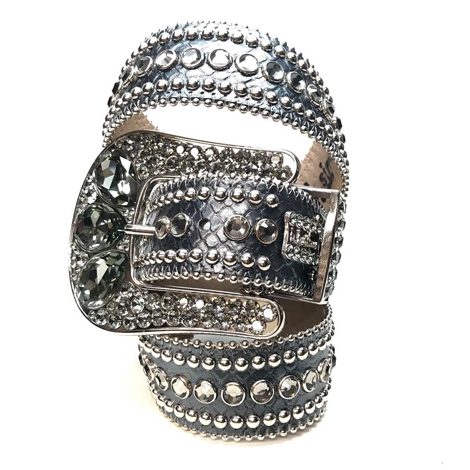 B.B. Simon Silver Studded Leather Crystal Belt - Dudes Boutique
