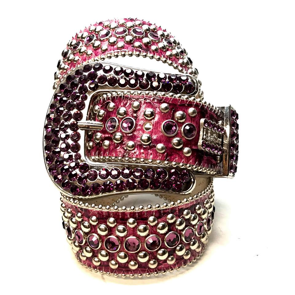 B.B. Simon Purple Fully Loaded Leather Swarovski Crystal Belt - Dudes Boutique