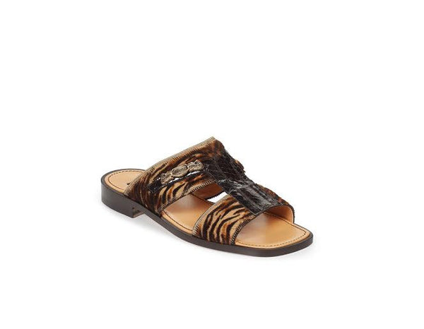 Mauri - 1450 Cuba Brown/Beige Genuine Pony Dark Brown Whips Sandals - Dudes Boutique