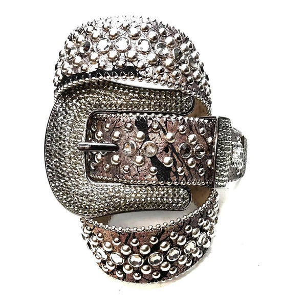 B.B. Simon Gray Crackle Leather Fully Loaded Swarovski Crystal Belt