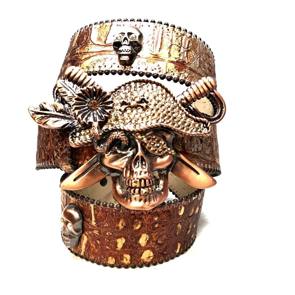 B.B. Simon Brown Pirate Skull Head Leather Crystal Belt - Dudes Boutique