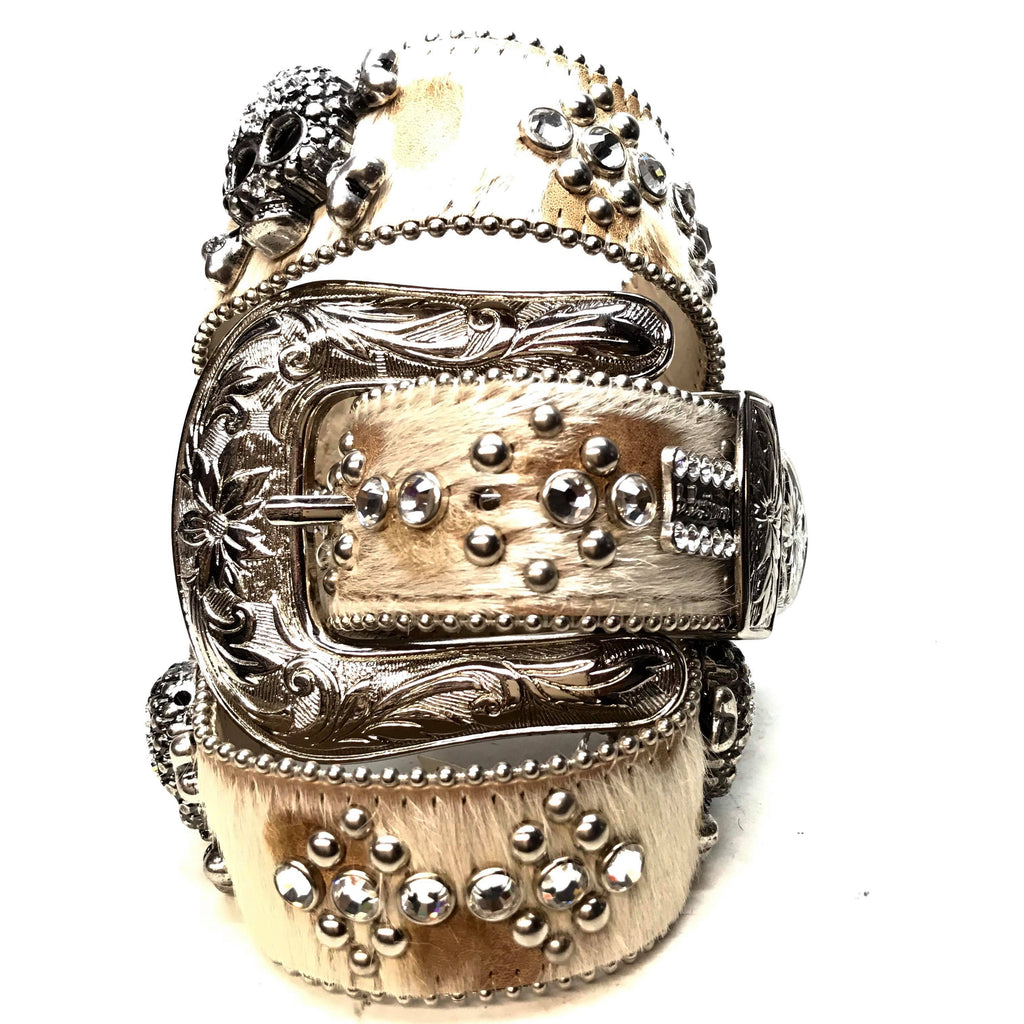 B.B. Simon 'Natural Skulls' Pony Swarovski Crystal Belt - Dudes Boutique
