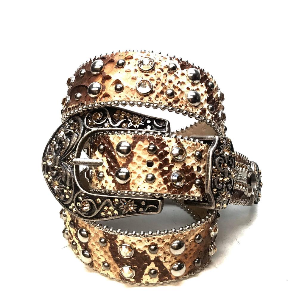 B.B. Simon 'Natural Python' Arch Swarovski Crystal Belt - Dudes Boutique