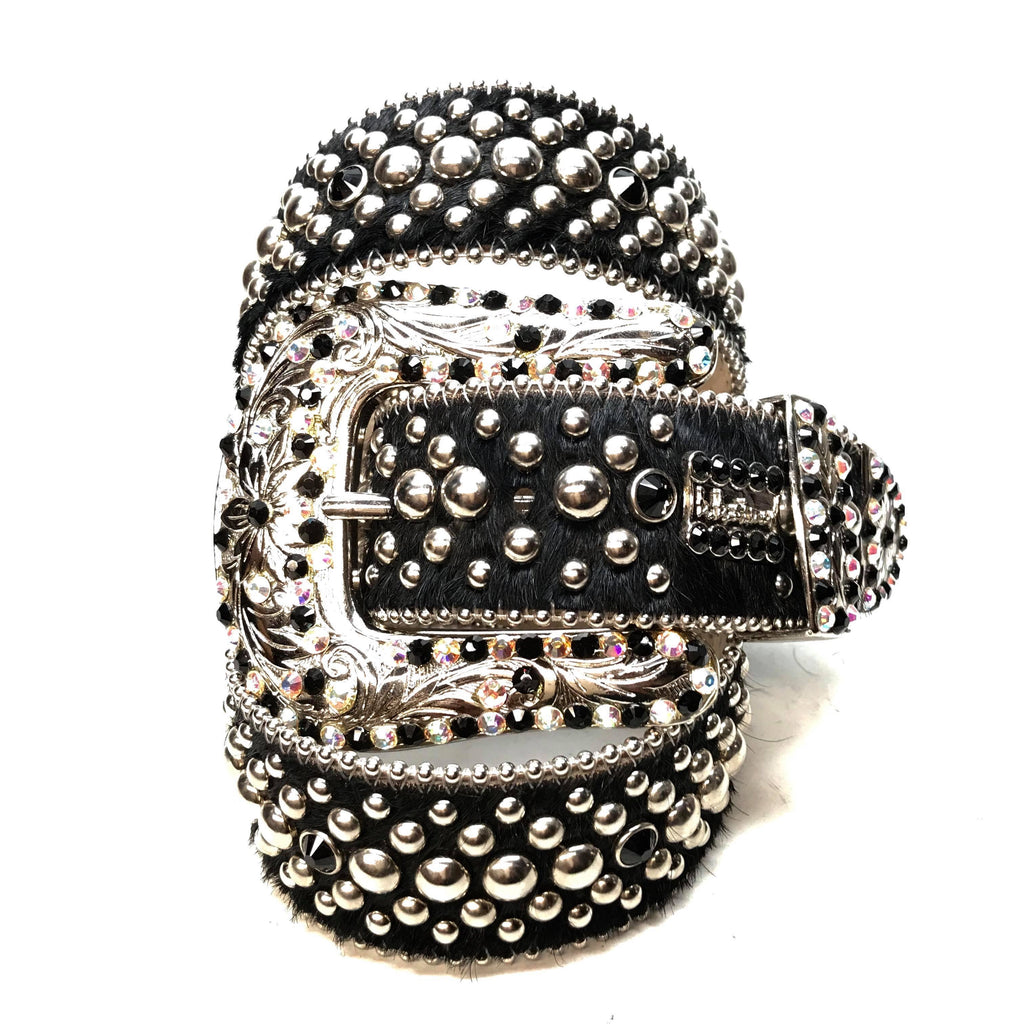 B.B. Simon 'Mixed Studded' Pony Swarovski Crystal Belt - Dudes Boutique