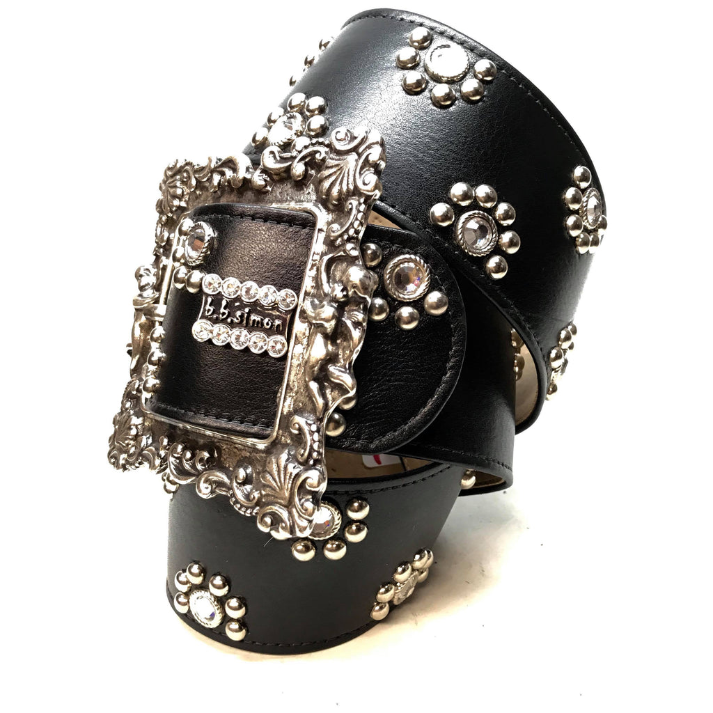 "B.B. Simon 'Floral Lambskin' Thick 2.5"" Swarovski Crystal Belt - Dudes Boutique"