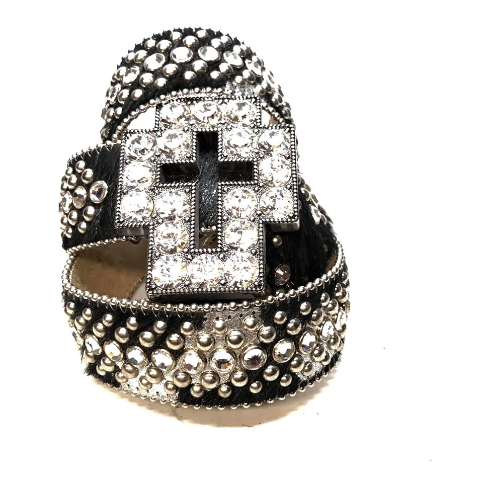 B.B. Simon Black Studded Pony Hair Cross Swarovski Crystal Belt - Dudes Boutique