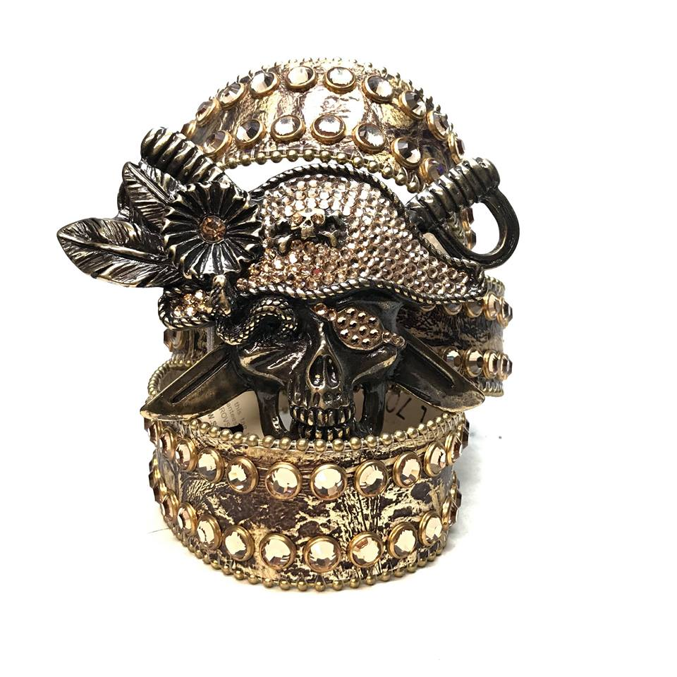 B.B. Simon Golden Pirate Head Leather Swarovski Crystal Belt - Dudes Boutique