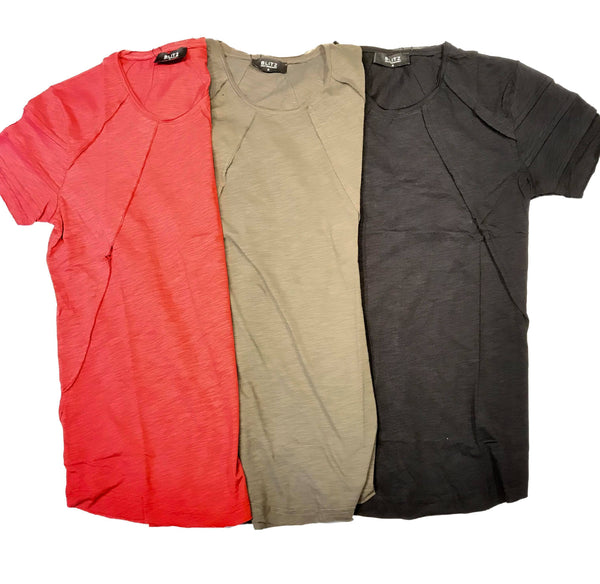 Blitz Pleated Stitched T-Shirt - Dudes Boutique
