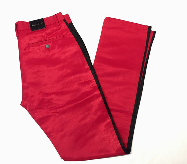 Barabas Straight Leg Red Striped Trousers - Dudes Boutique