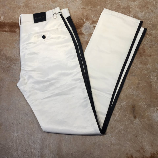 Barabas Straight Leg White Striped Trousers - Dudes Boutique