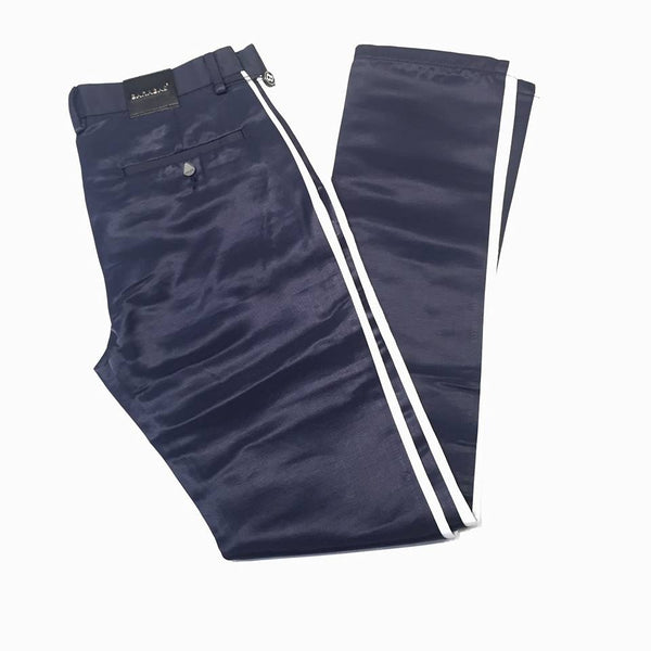 Barabas Straight Leg Navy Striped Trousers - Dudes Boutique