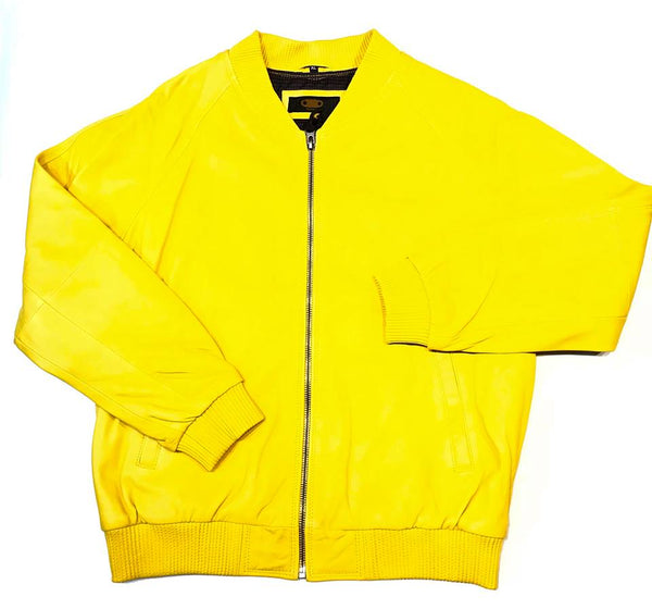 Kashani Lemon Naked Lamb Skin Bomber Jacket - Dudes Boutique
