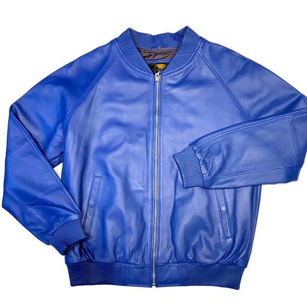 Royal Blue Naked Lamb Skin Bomber Jacket