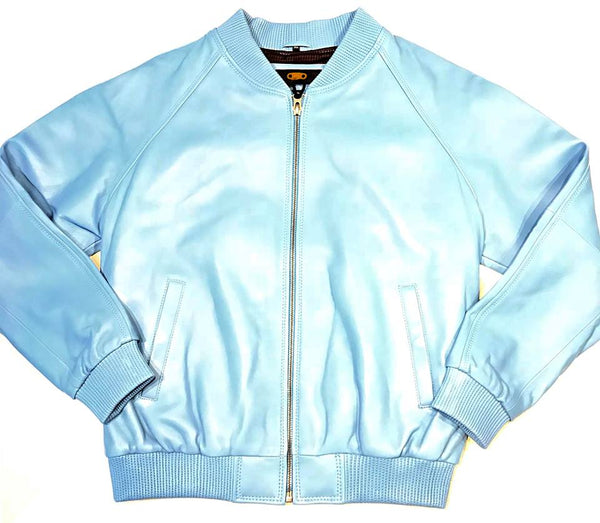 Baby Blue Naked Lamb Skin Bomber Jacket - Dudes Boutique